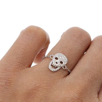 Women jewelry micro pave cz skull charm delicate chain 925 sterling silver high quality minimal ring