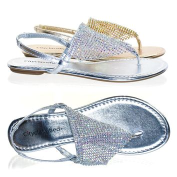 Addilyn by City Classified Rhinestone Crystal Encrusted Metallic Mesh Drape w Flat Thong Sandal