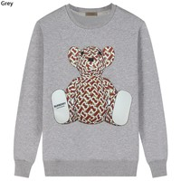 Burberry 2019 new new thick cotton bear print round neck long-sleeved sweater grey