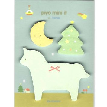 Whimsical Pony Horse Moon and Tree Shaped Memo Post-it Adhesive Notepad