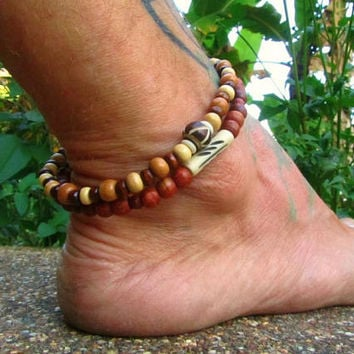 Yak Bone & Wooden Beaded Anklet / 2 Ethnic Ankle Bracelets / Unisex Beaded Ankle Bracelets / Mens Beaded Anklets / Anklet Set / Boho Anklet
