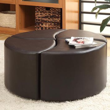 HomeHills 224721PU Four-Piece Cocktail Ottoman with Casters