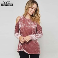 Off The Shoulder Women Cothes 2017 Autumn Long Sleeves T Shirt Women Tops Velvet T-shirt Casual Tops Pink Black Blue *1104