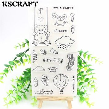 KSCRAFT Welcome Baby Transparent Clear Silicone Stamps for DIY Scrapbooking/Card Making/Kids Fun Decoration Supplies Flower