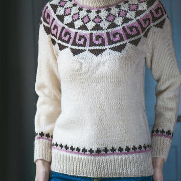 Vintage Scandinavian Sweater Women. White Brown Pink Wool Jumper. Fair Isle style Sweater Size S. Norwegian jumper unisex trendy fashion