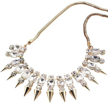 Rhinestone Inlay Spike Rivet Metal Golden Tone Adjustable Bib Statement Necklace