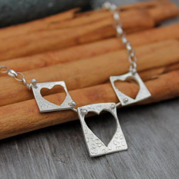 Hearts Necklace. Heart. Sterling Silver Heart Design. Riveted. Moves freely, easy to wear. Beautiful artistic handmade Necklace. OOAK