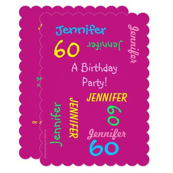 60 Years Young Hot Pink Birthday Party Invitation