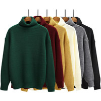 2015 Autumn and Winter Women Sweater Solid Color Turtleneck Casual Long Sleeve Loose Knitted Sweaters Pullover Burgundy Green