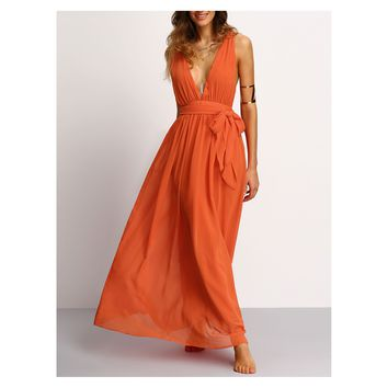 Orange Plunge Deep V Neck Tie Waist Maxi Dress