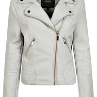 Erin Quilted Shoulder Rib Detail Faux Leather Jacket