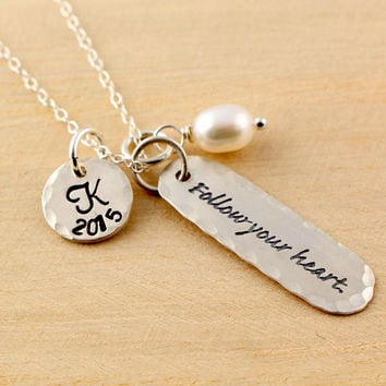 Graduation Gift - Initial Necklace - Date Stamp - Graduation Year -  Personalized Jewelry - High School Graduation - College Graduation Gift