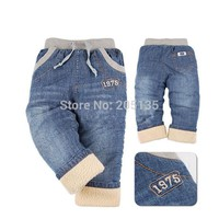 2016 Brand Children winter trousers baby boys Jeans thick warm cashmere jeans kids jeans Children Pants high quality retail