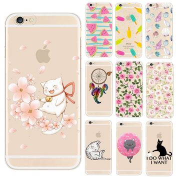 Phone Case For iPhone 8 7 6 6S Plus X 5 5S SE Lovely Cat Fruit Watermelon Pineapple Design Back Cover Transparent Fundas Coque