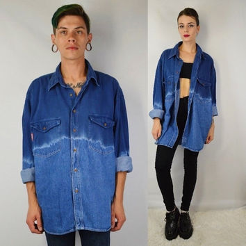 90s Denim Shirt MEN XL Large Soft Grunge Dip Dye Gradient Oversize Vintage Mens Clothing Women Unisex Jean Collar Button Up Unique Rare Cool