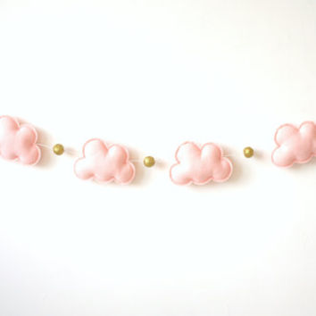 Baby girl nursery decor, pink and gold, Cloud Star Garland, nursery wall decor, baby girl room decor