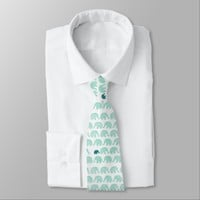 Teal and Pastel Green Elephant Animal Pattern Neck Tie