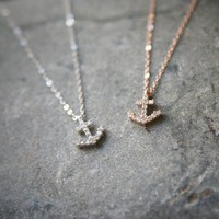 Swarovski Anchor Necklace Sterling Silver Anchor Charm Necklace from Kellinsilver.com