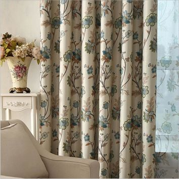 Bedroom Curtains Blackout Floral Print Window Decoration Rustic Pastoral  Living Room Curtains Drapes Single Panel (A316)
