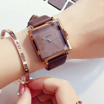 JULIUS 354 Leather Strap Classic Simple Square Dials Fashion Women Quartz Wrist Watch