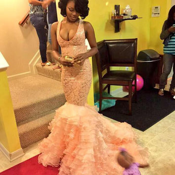 2016 Sexy Prom Dresses Spaghetti Strap Bling Pink Halter Beads Tiered Backless Long Formal Evening Party Gowns robes de bal