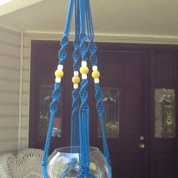 Macrame Plant Hanger,  6 mm Polyolefin cord, sapphire blue shade with yellow and white wooden beads,  modern style.