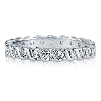 Round Cubic Zirconia 925 Sterling Silver Woven Eternity Ring Band 2mm #r767-cl
