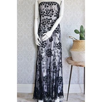 Vintage Hand-Beaded  Strapless Evening Gown