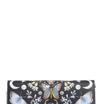 Alexander McQueen Nocturnal Print Leather Wallet on a Chain | Nordstrom