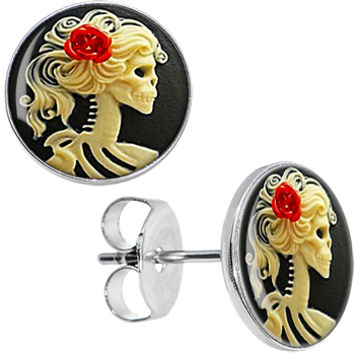 Red Rose Skeleton Cameo Stud Earrings   Body Candy Body Jewelry