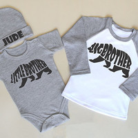 Big Brother Little Brother Set. Matching Brother Tees. Sibling Set of 3. Big Bro Announcement. Newborn Photography. Brother Bear Clothes.