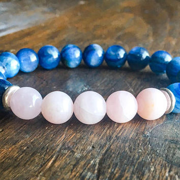 Rose Quartz and Kyanite Bracelet | 10mm | Karen Hill Tribe Silver | Beaded Bracelet | Healing Bracelet | 10mm Rose Quartz and Kyanite