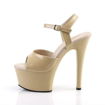 Aspire 609 Cream Patent Platform High Heel Ankle Strap Shoes