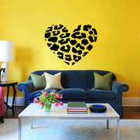 Heart Wall Decal Cheetah Spot Print Heart Love Wall Decals Vinyl Sticker Interior Home Decor Vinyl Art Wall Decor Bedroom SV5835