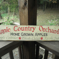 apple sign, rustic apple sign, primitive apple sign, apple kitchen, wood sign country apple sign, primitve home decor