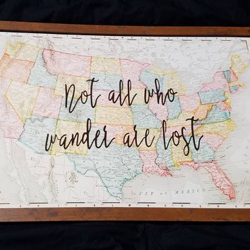 Not All Who Wander are Lost With vintage 1896 US Map 24 x 36 / Wedding, graduation or Christmas gift for travellers