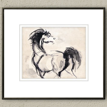 Giclee Print, Giclee, Horse Art Print, Drawing, Illustration, Pen & Ink, 8x10, Arabian Stallion, Horse Painting, Ink Sketch