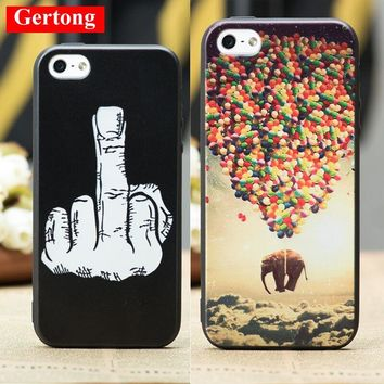 GerTong Pattern Luxury TPU Phone Case For iPhone 7 Plus 6 5S 6S SE 5 S Finger Balloon Elephant Moon Imagine Back Cover