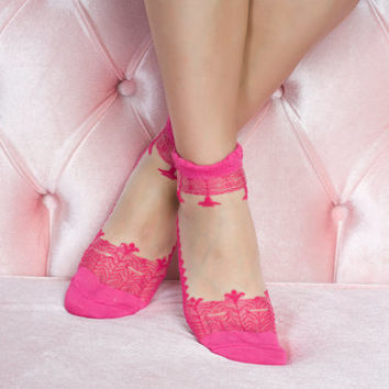 Fuchsia Lace Socks Fashionable lace socks girlfriend gift socks