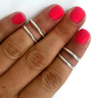 4 Above the Knuckle Silver Rings - set of  4 stackable silver rings  Above the Knuckle Rings  set of  4