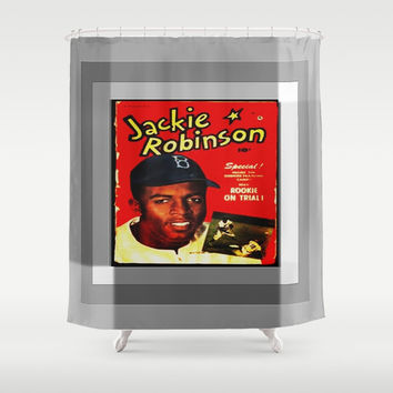 JACKIE ROBINSON/VINTAGE/BASEBALL Shower Curtain by Kathead Tarot/David Rivera