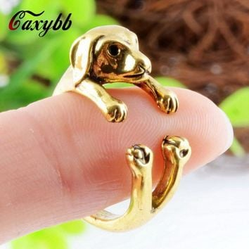 1Pcs Vintage Hippie Chic Dachshund Dog Ring Animal Sausage Dog Boho Ring Brass Knuckles Rings For Men Women Fine Jewelry r03