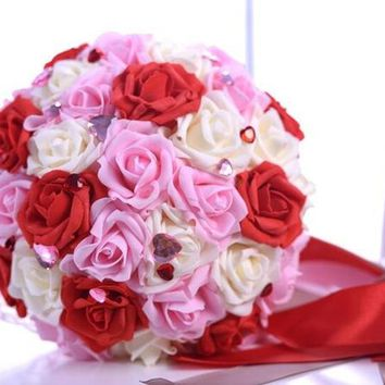 Pink Red White Lace Bridal Bouquet for Wedding Decoration Wedding Bouquet Handmade Artificial Flower Rose