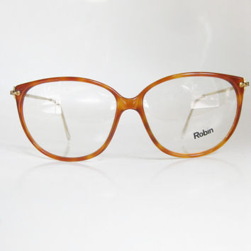 63416c5c055d Vintage Honey Tortoiseshell 1980s Eyeglasses Womens Eyewear Light Brown Brass  Round Large Hipster Ladies 80s
