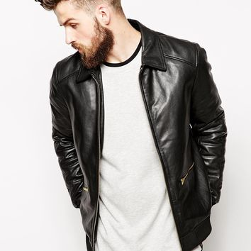 ASOS Leather Harrington Jacket