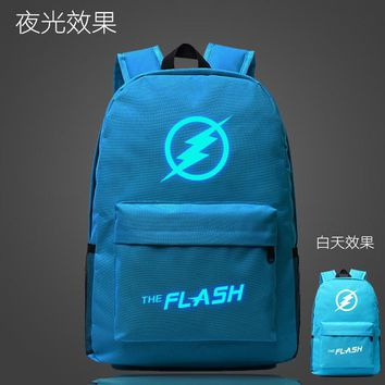 Student Backpack Children The Flash Man Super Hero School Bag noctilucous Luminous backpack student bag Notebook backpack Daily backpack Glow in the Dark AT_49_3