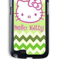 Samsung Galaxy Note 2 Case - Hard (PC) Cover with Hello Kitty on Green Chevron Plastic Case Design