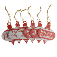 Christmas Greetings Onion Wood Christmas Ornaments, Red, 4-Inch, 6-Piece
