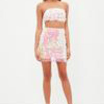 Missguided - Pink All Over Sequin Co-ord Set