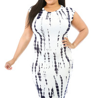 Plus Size Tie Dye Cut-out Back  Midi Dress